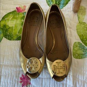 Gold peep toe flats